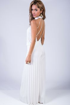 20cab3485d2b BRIGHT WHITE PLEATED WIDE LEG CAGE BACK EVENING PARTY JUMPSUIT