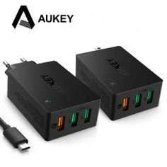 [ 18% OFF ] Aukey Quick Charge 3.0 3-Port Usb Wall Charger With Foldable Plug Micro Usb Cable For Lg Samsung Galaxy S7/s6/edge Nexus Iphone