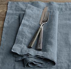 Restoration Hardware linen napkin  Ocean w/ gray monogram