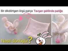 DIY - EN KOLAY TAVŞAN PATİK - EASIEST KNITTED SLIPPERS EVER - YouTube