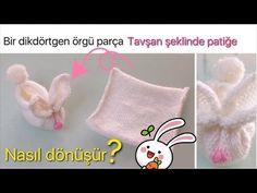DIY - EN KOLAY TAVŞAN PATİK - EASIEST KNITTED SLIPPERS EVER - YouTube