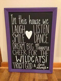 Wildcats chalkboard by Lauren Heim Weddings + Events! Email lauren@laurenheimweddings.com to order your own today!