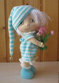 Купить Малышка-поздравляшка - бирюзовый, кукла ручной работы, кукла в подарок, кукла интерьерная