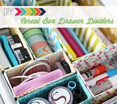 Cereal box drawer dividers.... organizing cords or other stuff .... or just as drawer/box dividers ! Very handy..........  TWFM : I use plastic containers too, to organize & delineate.