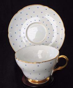 Vintage SHELLEY Bone China England Cobalt Blue POLKA DOTS #13497/B Cup & Saucer