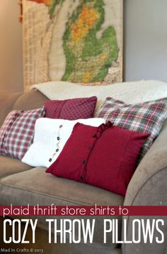 Plaid Thrift Store Shirts to Cozy Throw Pillows - Mad in Crafts, Could also use the shirts as pillow covers. (using the button fronts) Upcycled Crafts, Sewing Crafts, Sewing Projects, Fabric Crafts, Sweater Pillow, Old Sweater, Shirt Pillows, Sweaters, Sewing Pillows