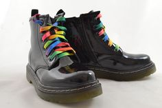 dr.martin's style black boots with multi coloured and black laces