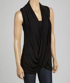 Black Lace-Back Crisscross Drape Top
