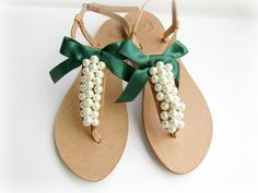 Wedding leather sandals / Decorated sandals with white pearls and forest green bow/ Greek sandals/ Bridal party shoes /Beach wedding sandals by dadahandmade on Etsy