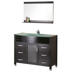 Design Element Cascade 48 in. Vanity in Espresso with Glass Vanity Top in Aqua and Mirror-DEC017-G at The Home Depot