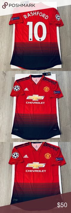 48a2e2ea55f Marcus Rashford adidas jersey Manchester United Champions league jersey  Fifa 19 Soccer jersey adidas Shirts Jersey