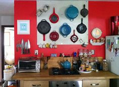 Thinking about hanging pegboard in your kitchen? Find lots of great tips for your pegboard project.