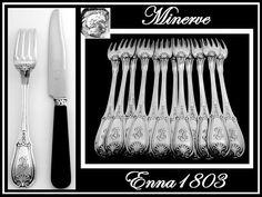 French Sterling Silver Dinner Flatware Set w/Matching Ebony Knives Shells by Lapar
