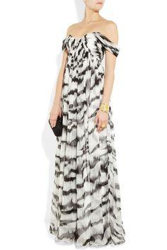 Alexander McQueen White Tiger Animal Print Silk Gown Dress BNWT UK 10 US 6 IT 42