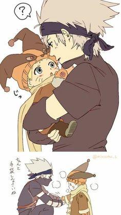 Naruto and Kakashi if only that he took him in like that in the anime Kakashi Hatake, Naruto Uzumaki, Anime Naruto, Boruto, Kakashi Naruto, Manga Anime, Naruto Cute, Gaara, Sasunaru