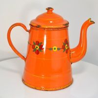 French Enamelware Coffee Pot Cafetiere Graniteware Orange Floral South of France