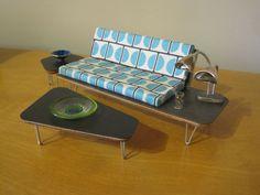 Dollhouse Miniature - Midcentury Modern Livingroom Set - Mod - Retro - 60s | eBay