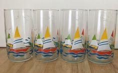 Vintage Anchor Hocking Set of 4 Colorful Sailboat 10 oz Nautical Glasses #AnchorHocking