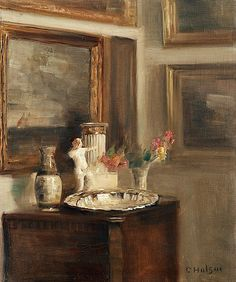 Carl Holsoe Interior with Silver Plate Late 19th - early 20th century