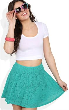 Deb Shops novelty #floral #lace skater #skirt  $14.17