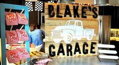 Vintage Garage Themed Birthday Party - says for a 1 yr old but could be used for any age with a few small changes.
