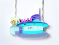 American Diner Pastel Necklace. Florida by designosaurYEAH on Etsy