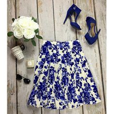 Floral Pleated Skirt | SexyModest Boutique #floral #pleated #royal #spring