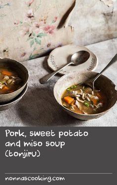 Pork, sweet potato and miso soup (tonjiru) Taro Recipes, Pork Rib Recipes, Dishes Recipes, Oven Recipes, Meal Recipes, Curry Recipes, Food Dishes, Cooking Recipes, Canned Sweet Potato Recipes