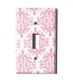 Chic Pink White Damask Light Switch Cover Cottage Room Decor, Lightswitch Paris Bedroom Wall Decor (P3)