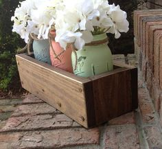 Custom made rustic planter box with 3 painted mason jars. Mason jars. Rustic home decor.