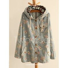 Drawstring Design Casual Hooded Single Breasted Tiny Floral Pattern Long Sleeve Women's Coat