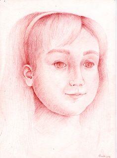 Retrato de Marianita. Sanguina sobre papel.