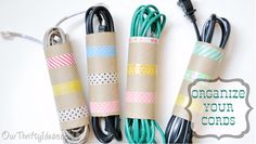 40 Brilliant DIY Organization Hacks via Brit + Co. Washi Cord Organizers: Of course, we couldn't come across another great use for washi tape and not post it! (via Our Thrifty Ideas) Made with empty toilet paper rolls! Organizing Hacks, Cord Organization, Organizing Your Home, Cord Storage, Cable Storage, Bedroom Organization, Hacks Diy, Organizing Solutions, Purse Storage