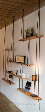 Awesome Shelfs which are hanging on the ropes. Great idea! 15 stunning home decor ideas – Your Dream Home  The post  Shelfs which are hanging on the ropes. Great idea! 15 stunning home decor id ..