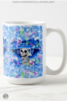 * La Calavera Catrina * Laughing Skeleton Woman in Blue Bonnet Coffee Mug by Fall_Seasons_Best at Zazzle #Gravityx9 * Mugs are available in several style options. * Dia De Los Muertos coffee mug * day of the dead mugs * la calavera coffee mug * la calavera catrina mug * Custom coffee mugs * gift ideas adults * #FallSeasonsBest #diadelosmuertos #diadelosmuertosmug #diadelosmuertoscoffeemug #calavera #calaveracatrina #lacalavera #dayofthedead #calaveramug #blue 0920