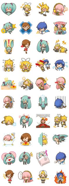 The wildly popular Hatsune Miku stickers are back for round two, and this time she brought her friends. Designed by the Vocaloid illustrator, Sanpachi! Mega Anime, Anime Chibi, Kawaii Anime, Anime Art, Vocaloid Funny, Pokemon, Mikuo, Web Design, Kawaii Drawings