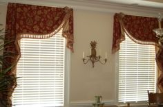 Moreland valances with extra long jabots. Constructed by Doshie Witcher. Valance Window Treatments, Custom Window Treatments, Window Coverings, Cornices, Curtains And Draperies, Drapes Curtains, Burlap Curtains, Valances, Drapery