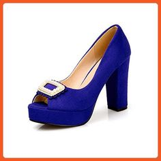 34c948051c8afa Womens Open Toe Peep Toe High Heels Suede Solid Sandals with Chunky Heels  and Platform Blue 8 BM US   You can get additional details at the image  link.