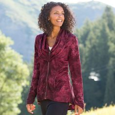 """GATHERING JACKET--Abundant gathers and ruching at the cowlneck, sides, sleeves and back lend softness and luxurious comfort to a tonally tie-dyed leisure hour jacket. Zip front, with a longer back hemline to cover your leggings. Tencel® lyocell/cotton. Machine wash. USA. Sizes XS (2), S (4 to 6), M (8 to 10), L (12 to 14), XL (16). 28""""L."""