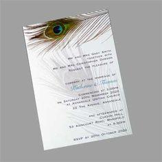 These postcard sized wedding invitations feature an image of a peacock feather. www.kardella.com Bling Wedding Invitations, Beautiful Wedding Invitations, Wedding Favours, Wedding Bouquets, Wedding Flowers, Wedding Dresses, Trendy Wedding, Elegant Wedding, Diy Wedding