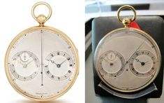 The finest collectible pocket watches that have appeared at auctions include an extremely rare 18K gold precision watch with two movements hand-crafted by Abraham-Louis Breguet (1747-1823) himself. The pocketwatch once belonged to the collections of a European noble family, and was later lost and finally rediscovered and offered at Chrisite's Important Watches sale on 14 May, 2012 in Geneva. The quintessential pocket watch from the horological master was sold for $4,682,165.