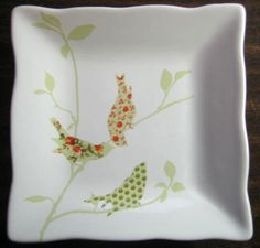 Birds are hot. Perfect for wall, cabinet, or snack. Square Plate Set, Pink Bird, China Painting, Painting Inspiration, Tile, Pottery, Birds, Fancy, Plates