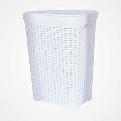 Beyaz Rattan Çamaşır Sepeti 60 Litre