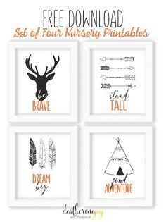 Tribal Theme   Set of Four Nursery Prints   FREE Download    Modern nursery #friebies #printables #bursery #modernnursery