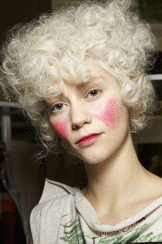 Dramatic pink cheeks at Vivienne Westwood Fall 2014  - Runway Beauty at Paris Fashion Week #PFW