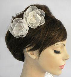 Wedding Hair Flower Organza Camellia Hair Pin by MammaMiaBridal, $30.00