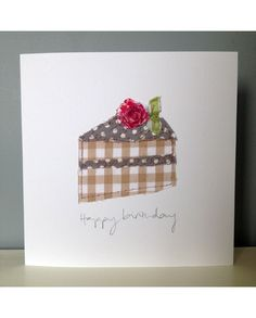 250 Happy Birthday To YouSarah Becvar Design Fabric Cards, Fabric Postcards, Paper Cards, Diy Cards, Embroidery Cards, Free Motion Embroidery, Handmade Birthday Cards, Greeting Cards Handmade, Freehand Machine Embroidery