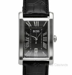 New Hugo Boss Mens Dress Watch, Modern Black Face Dial w/ Leather Band