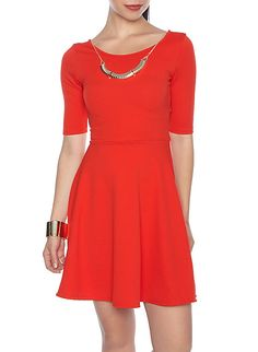 Skater Dress With Necklace,RED