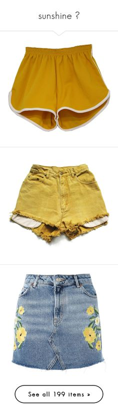 """sunshine 🌻"" by skubesh ❤ liked on Polyvore featuring shorts, bottoms, pants, short, elasticated waist shorts, yellow short shorts, white shorts, stretch waist shorts, elastic waistband shorts and high-rise shorts"